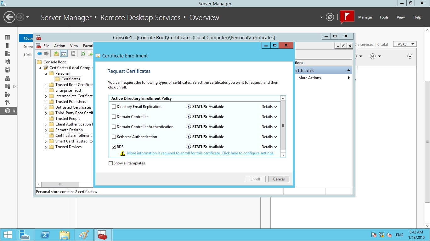 Creating a wild card certificate for remote desktop services enter information about the type of subject name and alternative name values that can be used in the certificate xflitez Choice Image